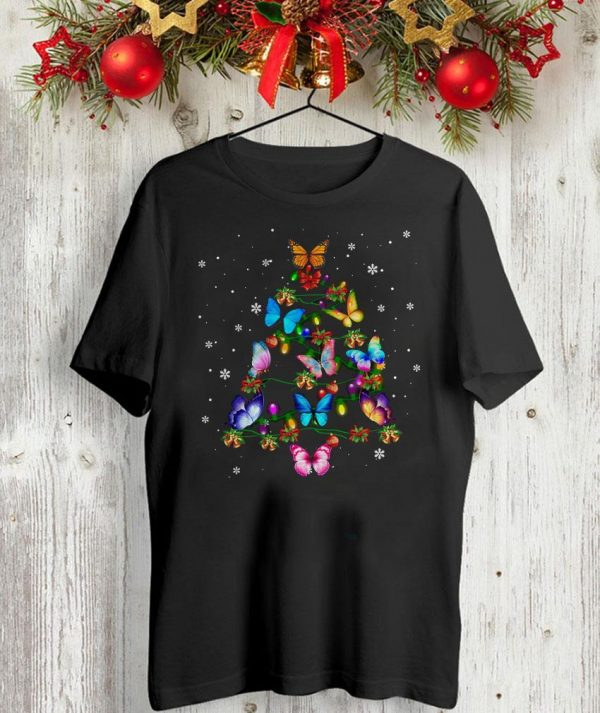 Butterfly Christmas tree t-shirt