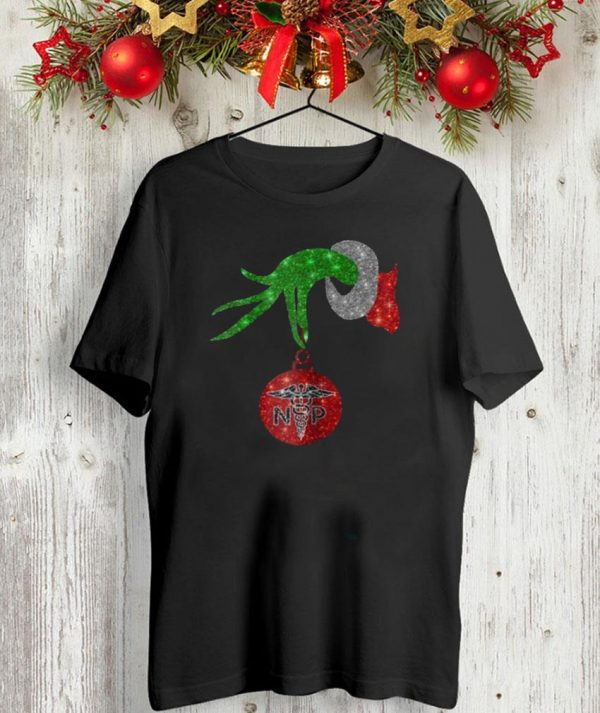Nurse Grinch holding ormanent Christmas shirt