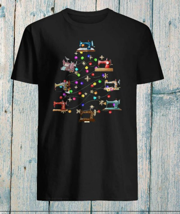 Sewing machine christmas tree love quilt shirt