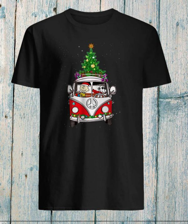 Snoopy and Charlie Brown hippie car Christmas shirt