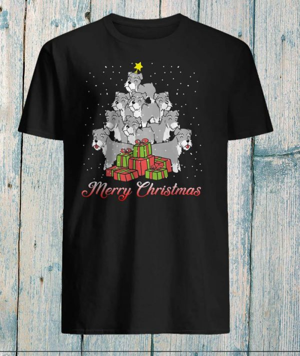 Schnauzer dogs tree merry Christmas shirt