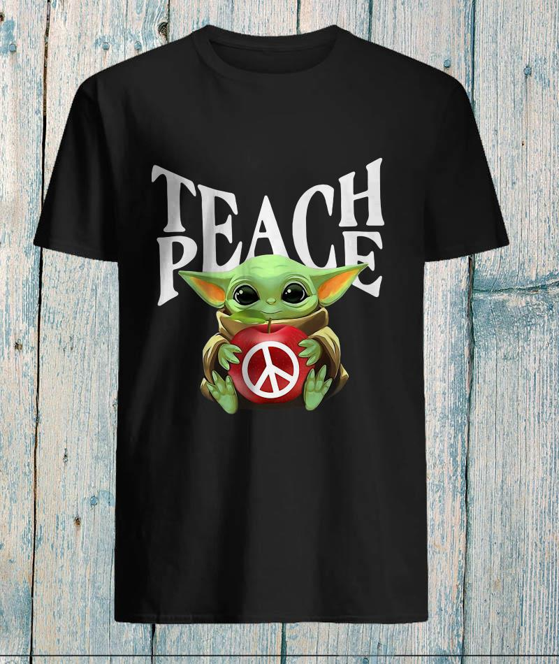 Baby Yoda hug teach Hippie peace unisex-shirt