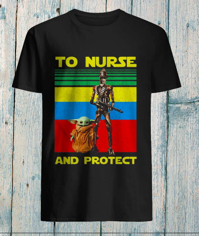 Vintage Baby Yoda and IG11 to nurse and protect unisex-shirt