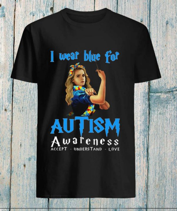 Hermione I wear blue for Autism awareness Harry Potter unisex t-shirt
