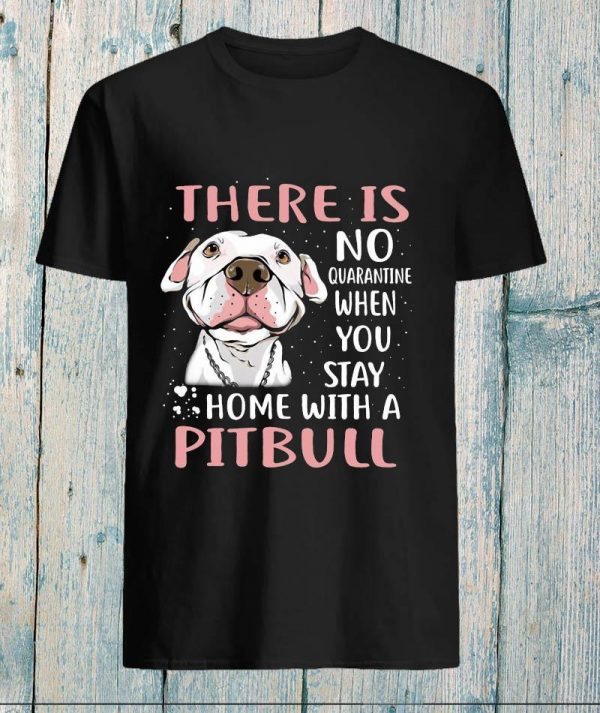 There is no quarantine when you stay home with a pitbull unisex t-shirt