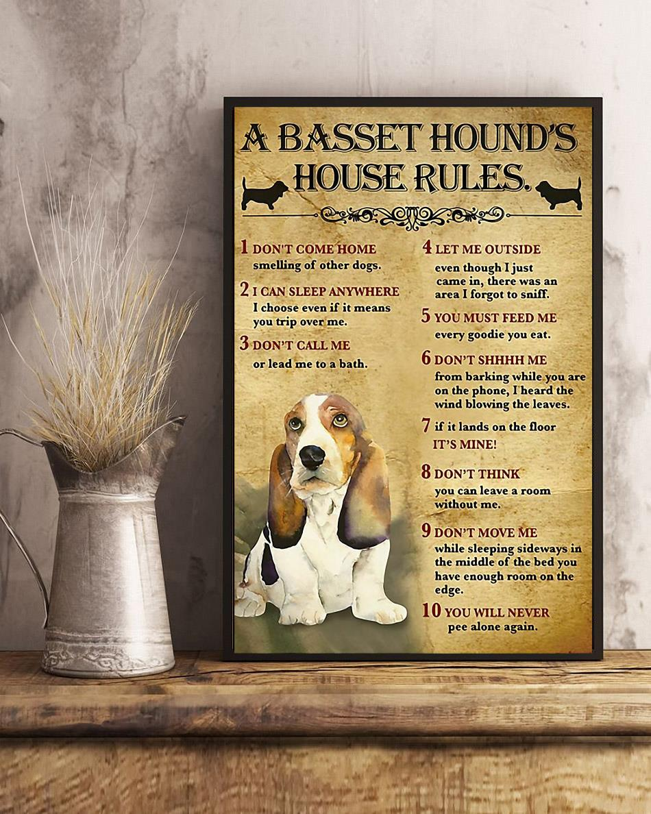 A Basset Hound house rules poster canvas art