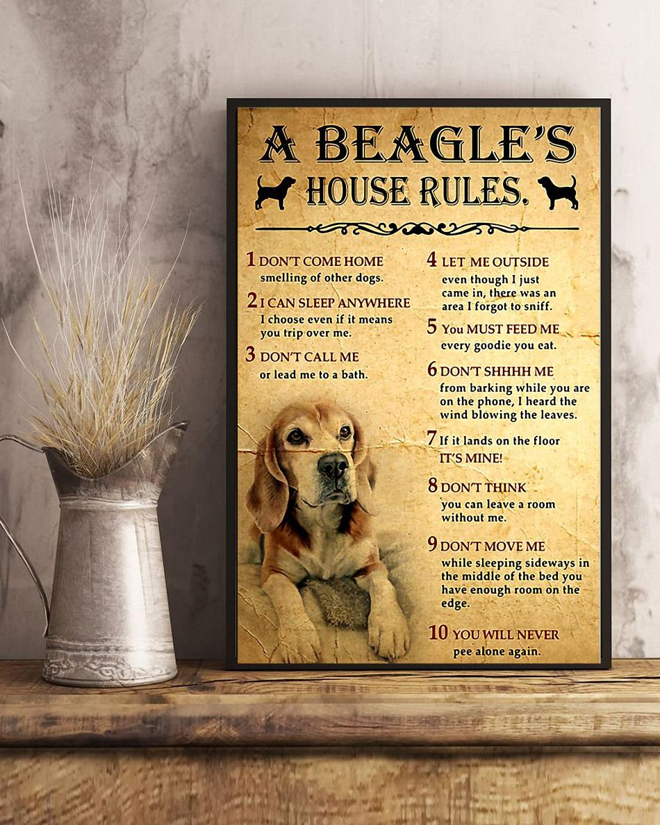 A Beagle house rules poster canvas art