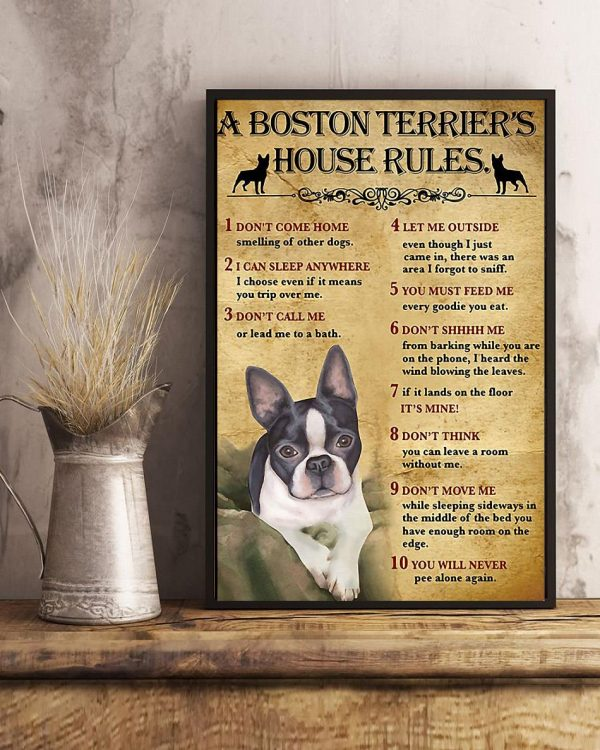 A Boston Terrier house rules poster canvas art