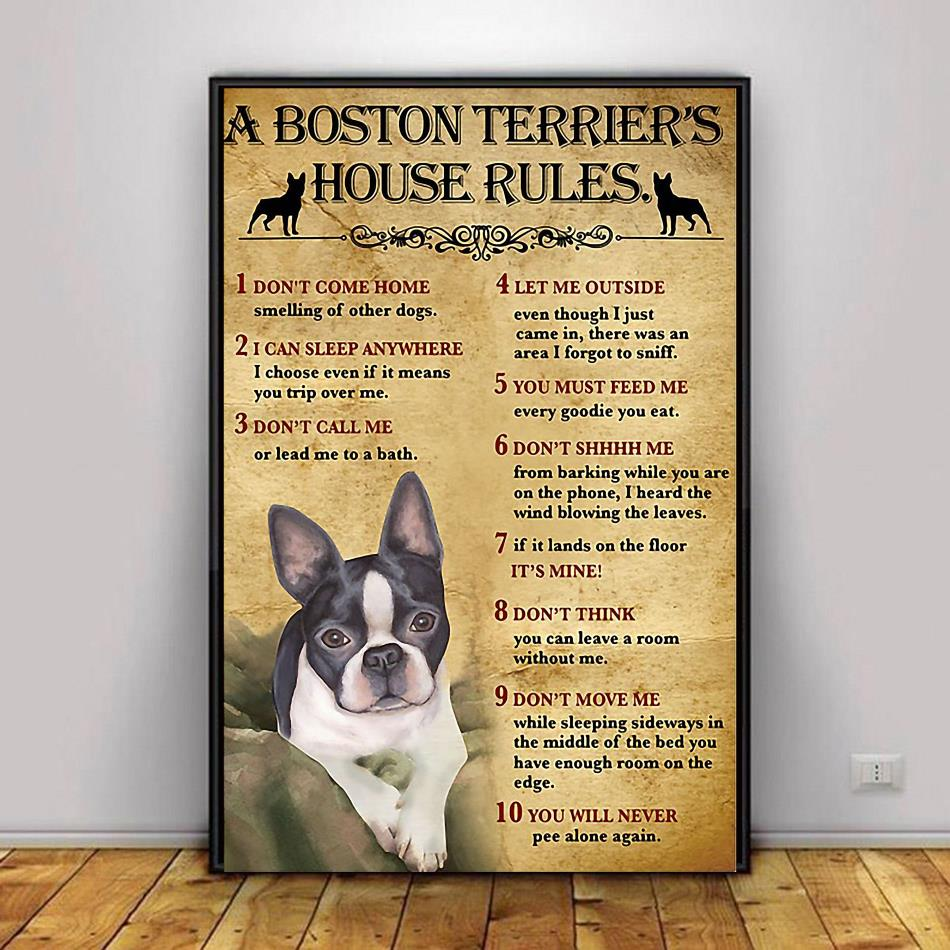 A Boston Terrier house rules poster canvas decor 1