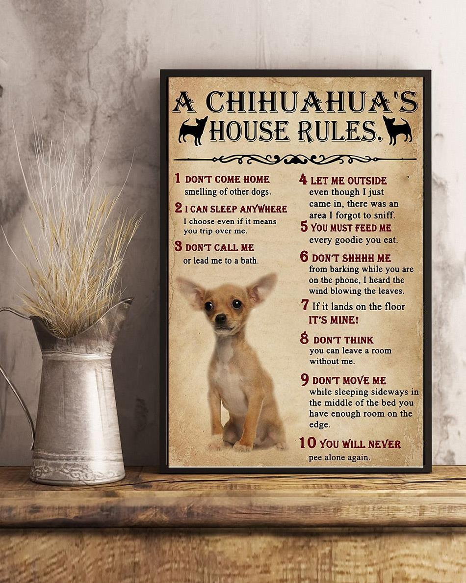 A Chihuahua house rules poster canvas art