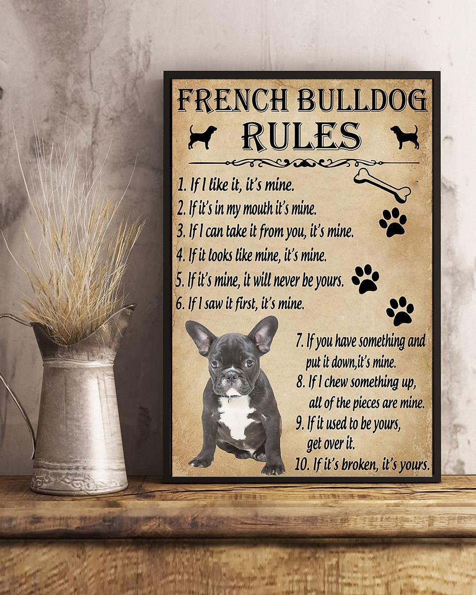 A French Bulldog house rules poster canvas art