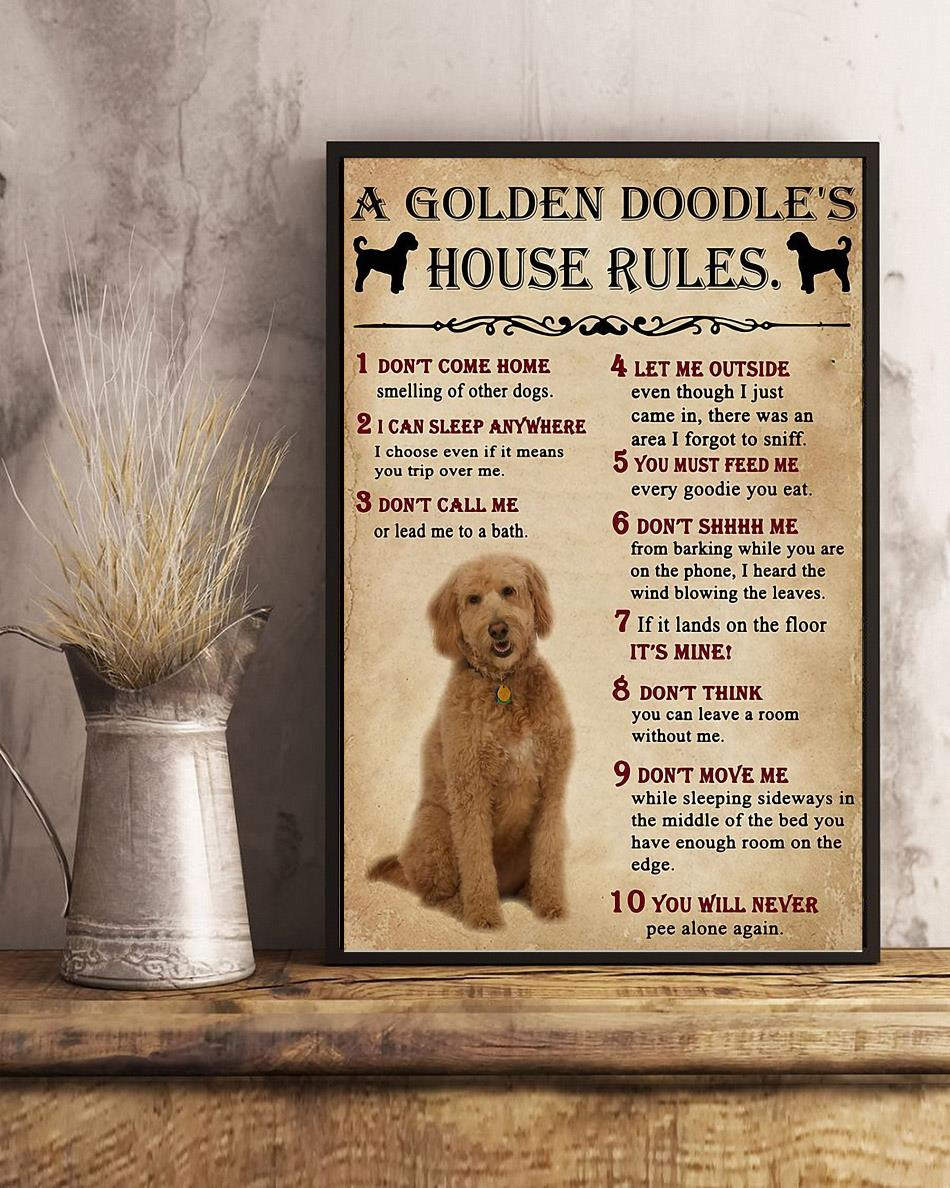 A Golden Doodle house rules poster canvas art
