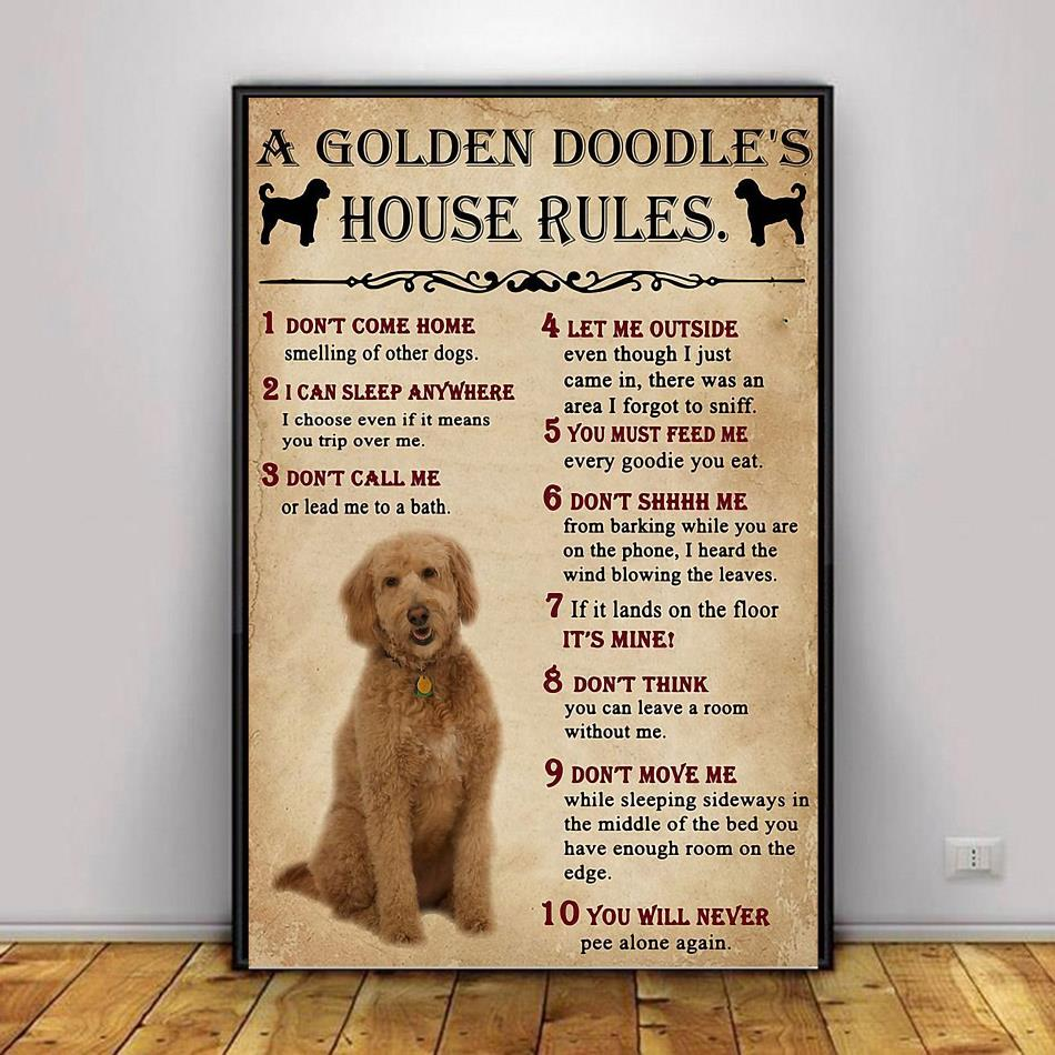 A Golden Doodle house rules poster canvas decor 1