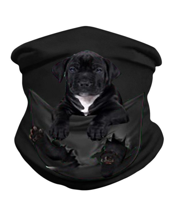 Black Pitbull inside pocket neck gaiter