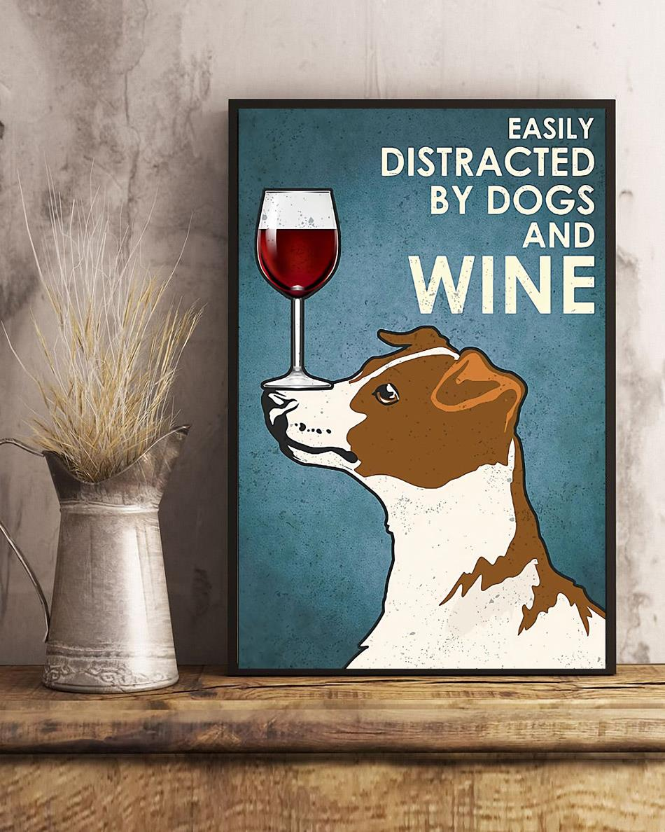 Jack Russell Terrier easily distracted by dogs and wine poster canvas art
