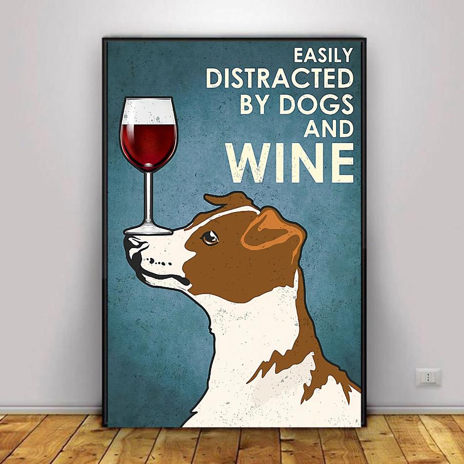 Jack Russell Terrier easily distracted by dogs and wine poster canvas decor 1