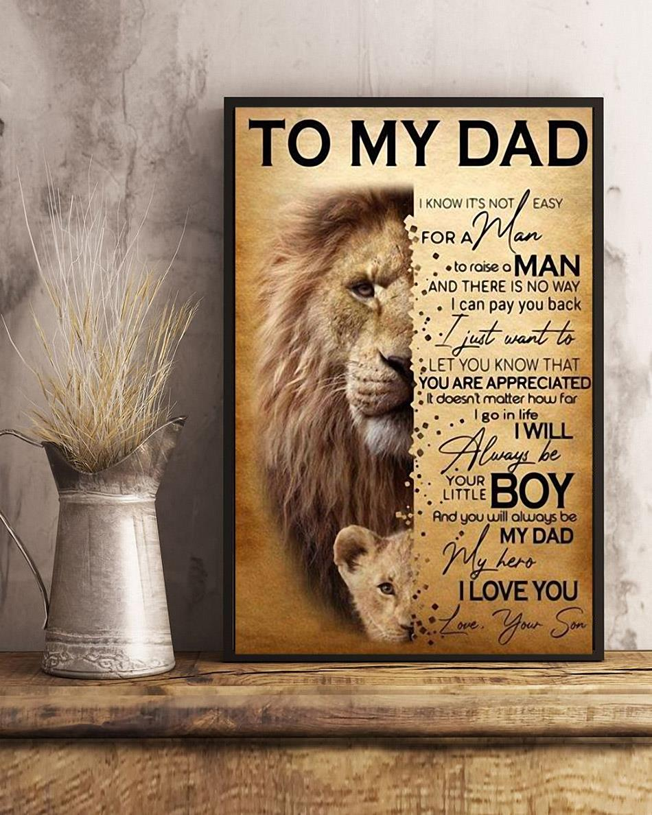 Lion son to my dad I will always be your little boy poster canvas art