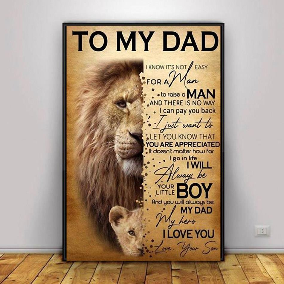 Lion son to my dad I will always be your little boy poster canvas decor 1