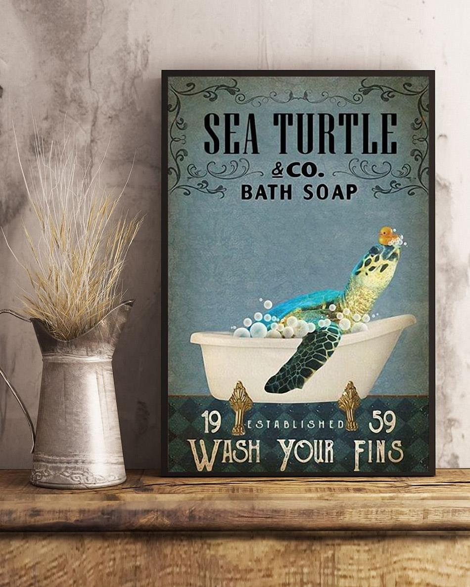 Sea Turtle bath soap wash your fins poster art