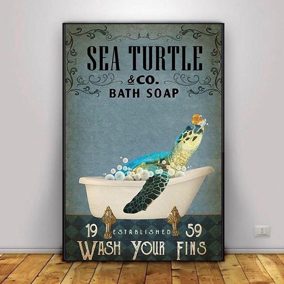 Sea Turtle bath soap wash your fins poster decor 1