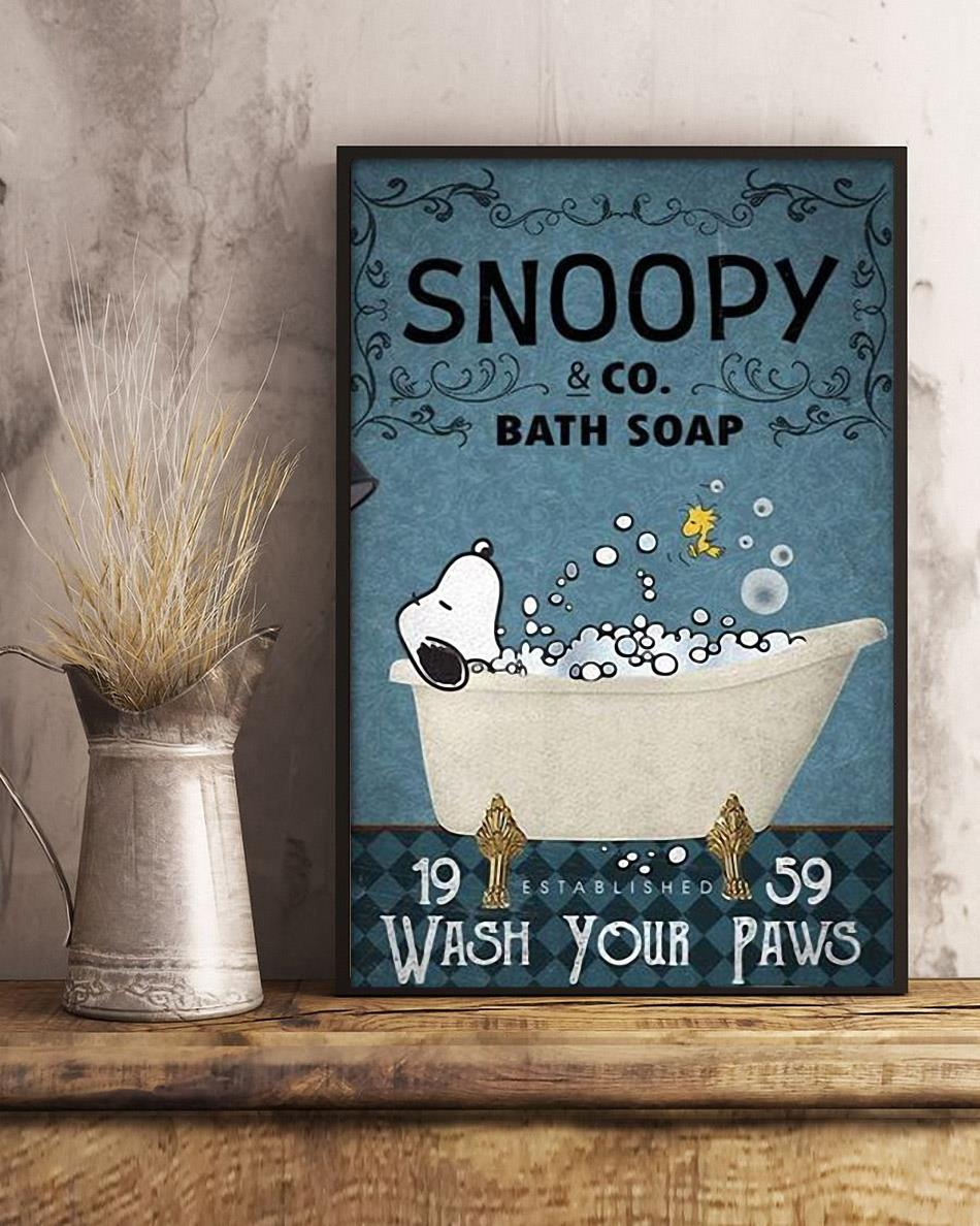 Snoopy bath soap wash your hands poster canvas art
