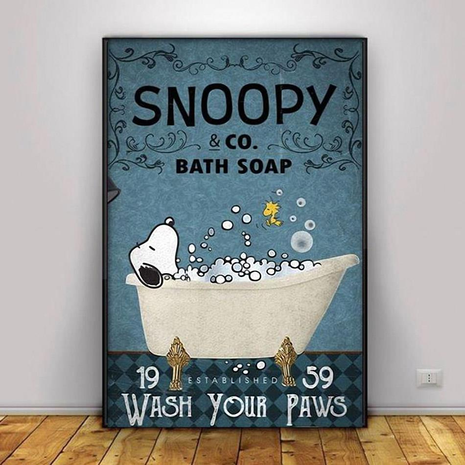 Snoopy bath soap wash your hands poster canvas decor 1