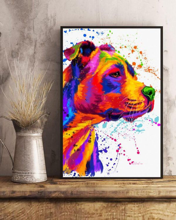 Staffordshire dog water color art canvas