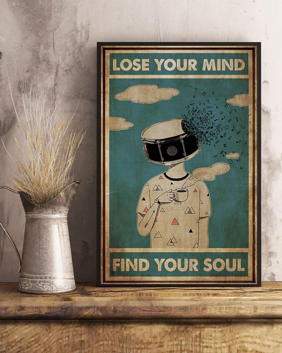 Drum coffee lose your mind find your soul poster canvas art