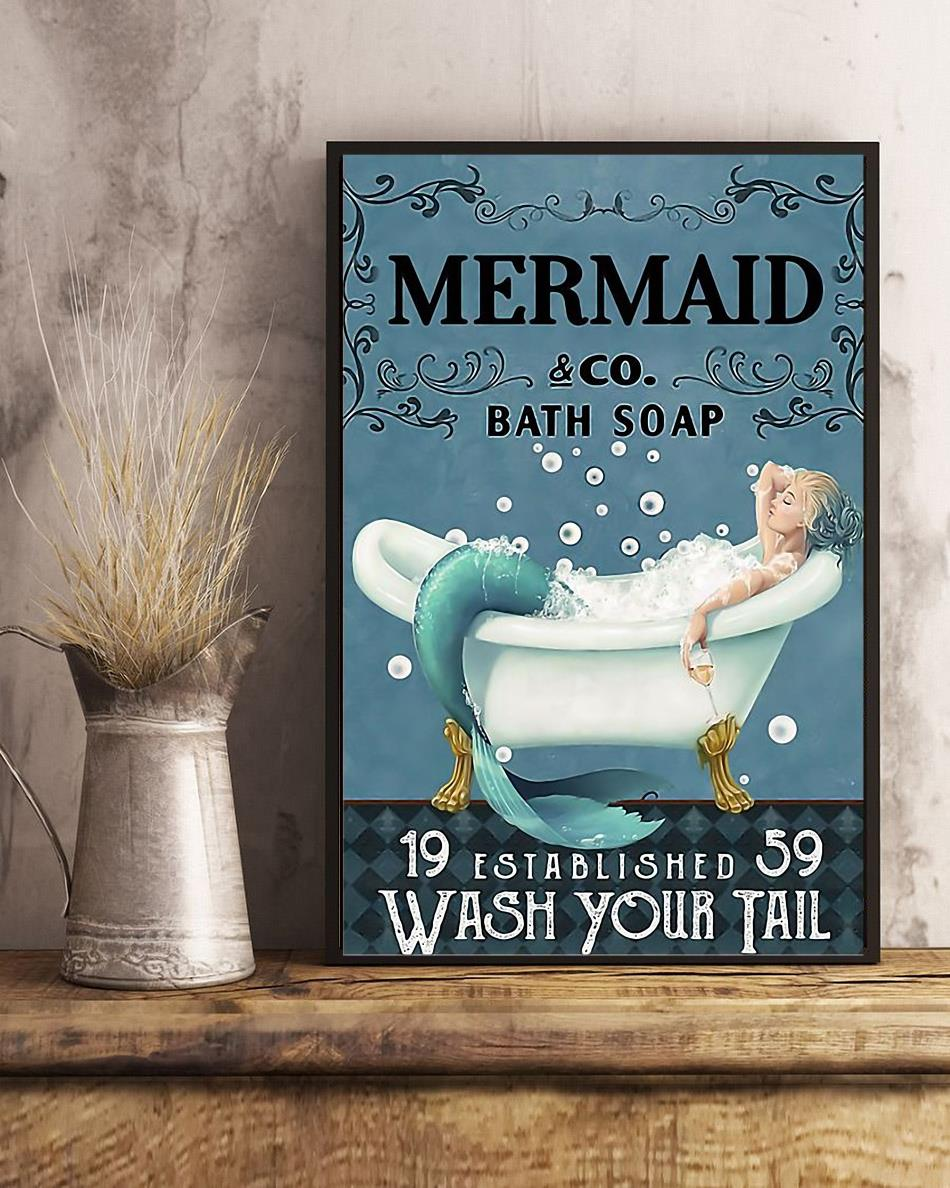 Mermaid bath soap wash your tail wrapped canvas art