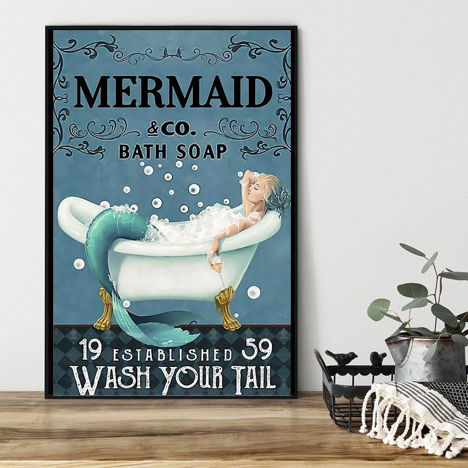 Mermaid bath soap wash your tail wrapped canvas black