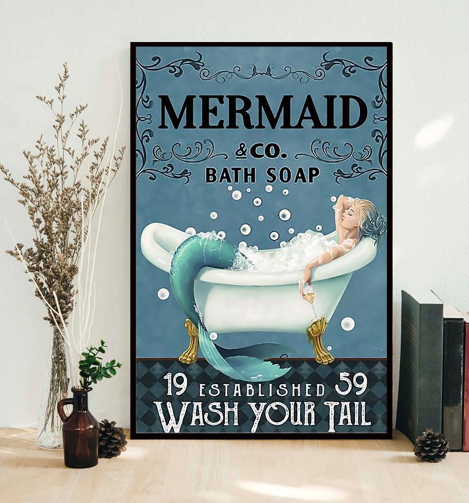 Mermaid bath soap wash your tail wrapped canvas