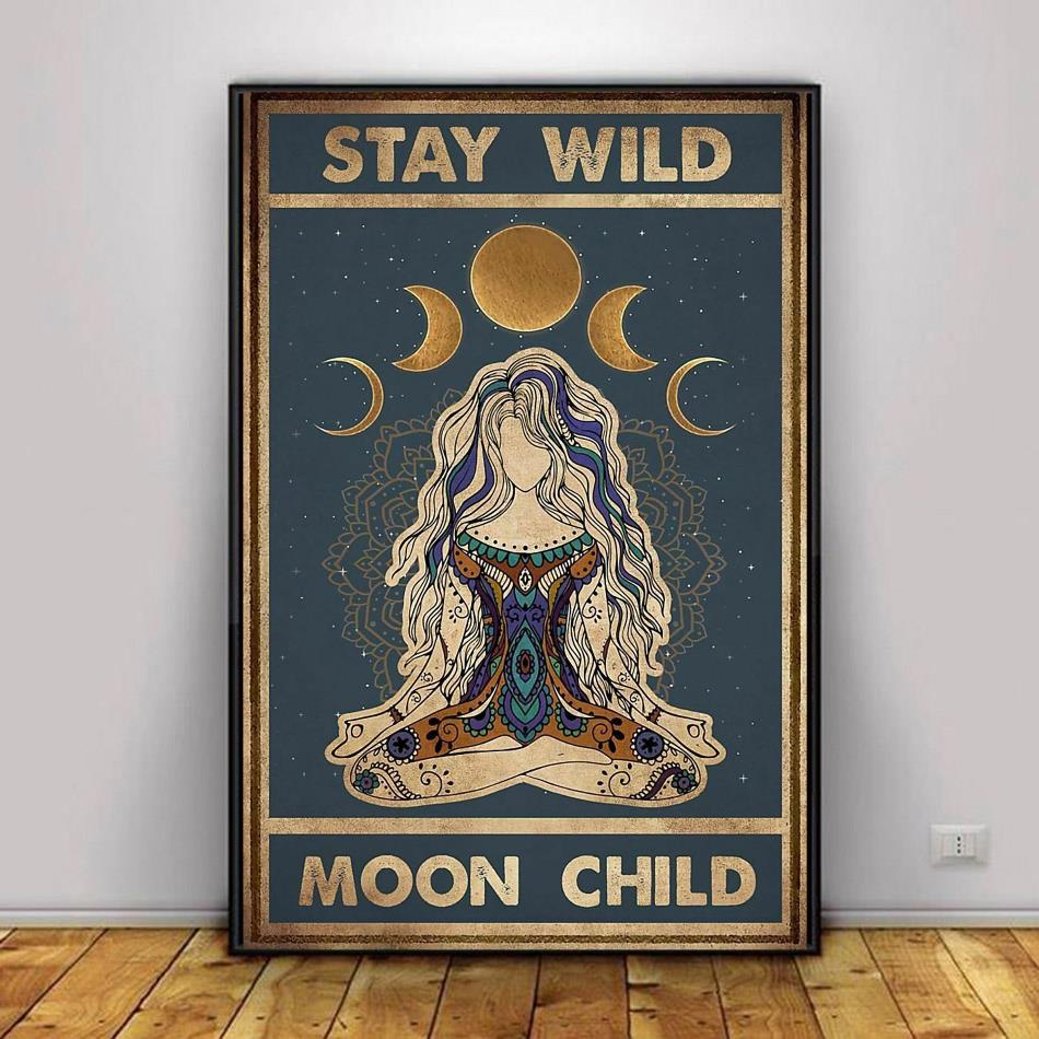 Yoga girl stay wild moon child poster canvas decor 1