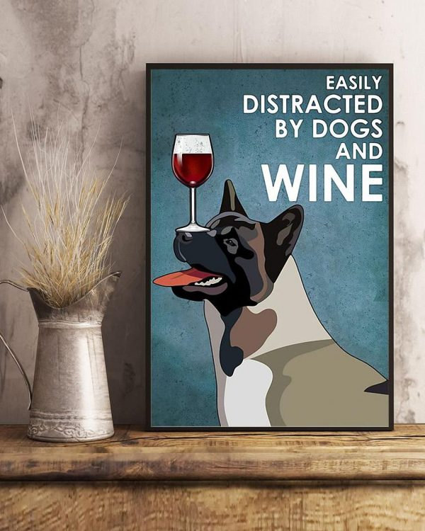 American Akita easily distracted by dogs and wine poster art
