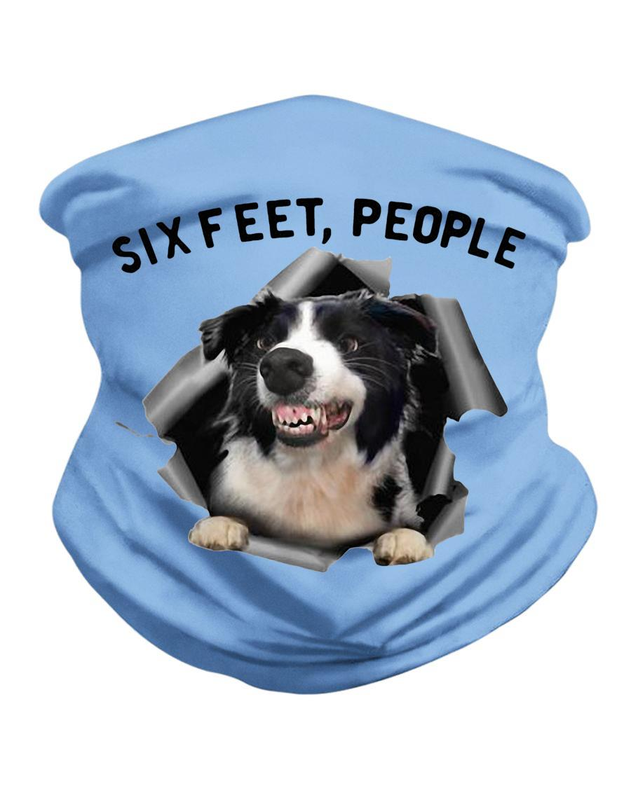 Angry Border Collie six feet people face mask neck gaiter