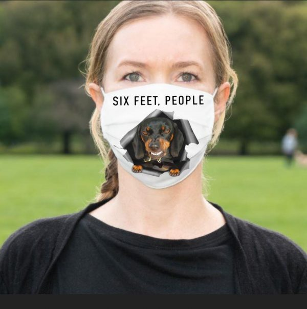 Angry Dachshund six feet people face mask