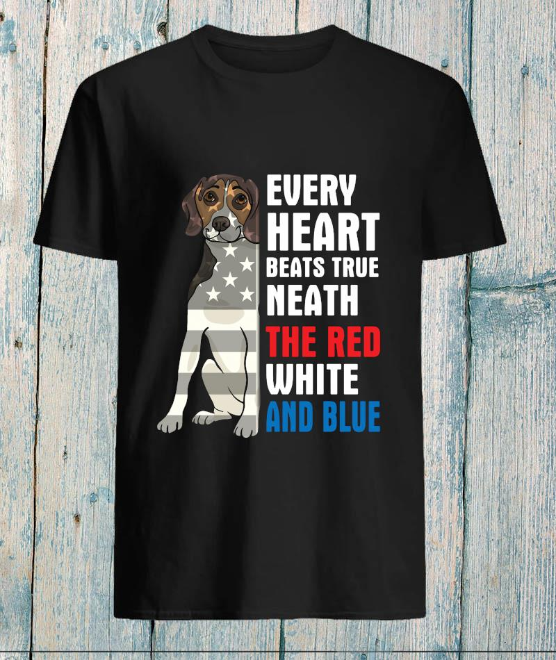 Beagle every heart beats true neath the red white and blue t-s unisex