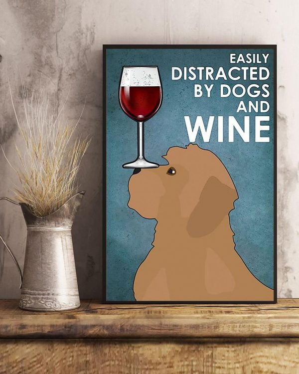Cockapoo easily distracted by dogs and wine poster art