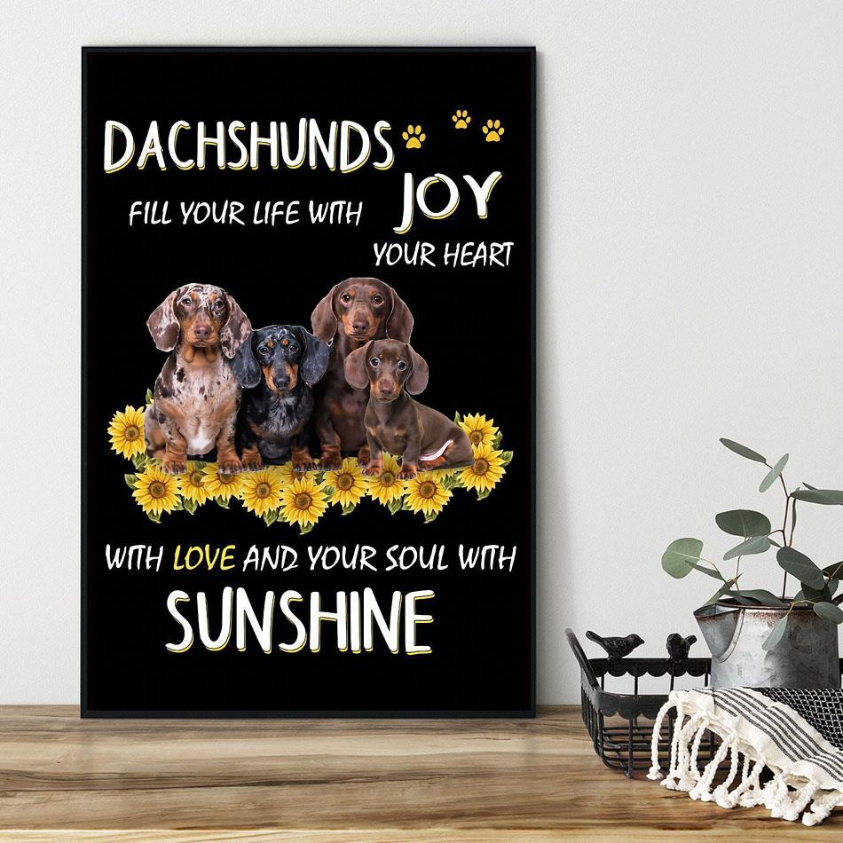 Dachshund Joys your life with your heart poster black