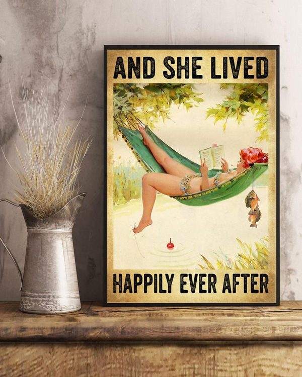Fishing girl and she lived happily ever after poster art