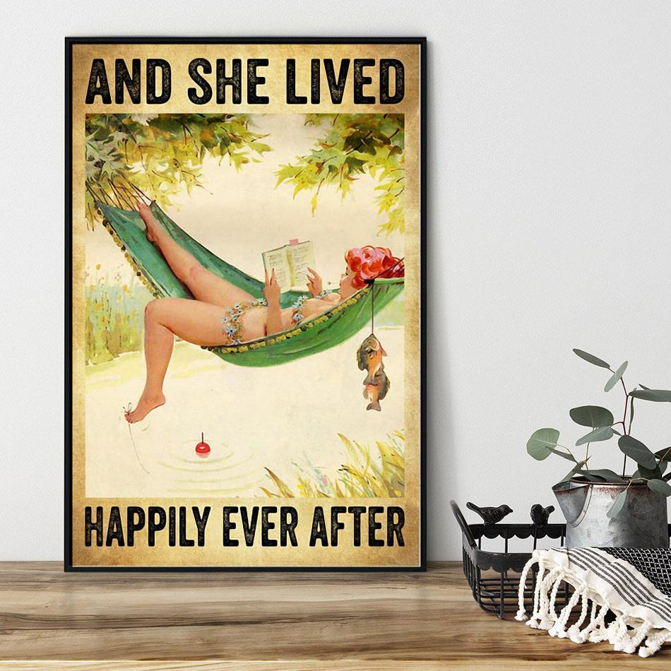 Fishing girl and she lived happily ever after poster black
