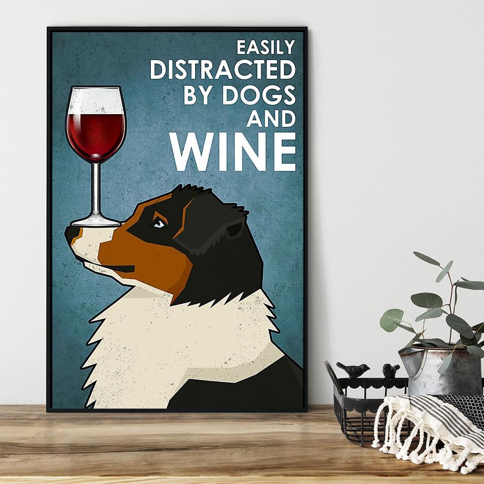 King Charles Spaniel easily distracted by dogs and wine poster black