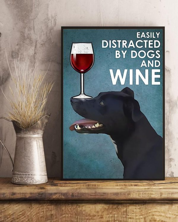 Patterdale terrier easily distracted by dogs and wine poster art