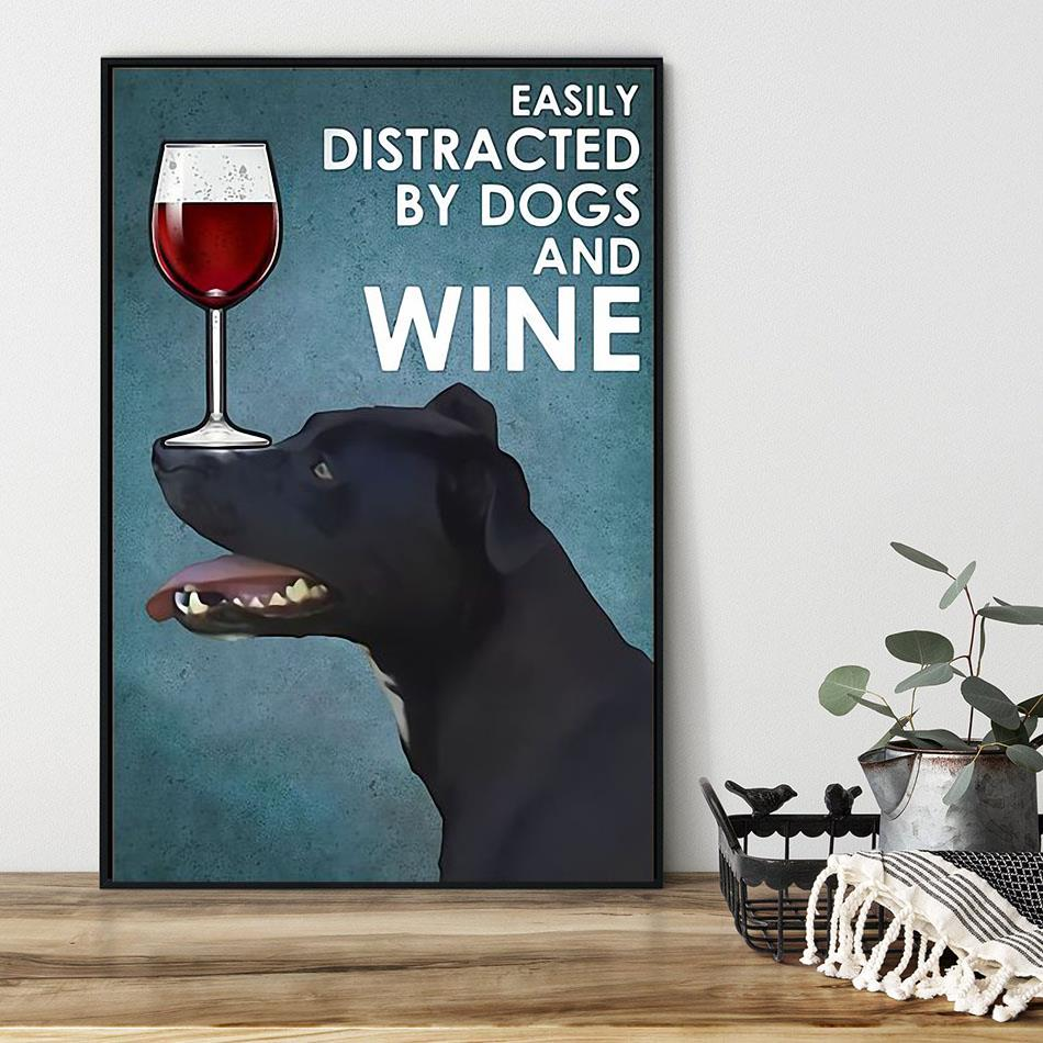 Patterdale terrier easily distracted by dogs and wine poster black