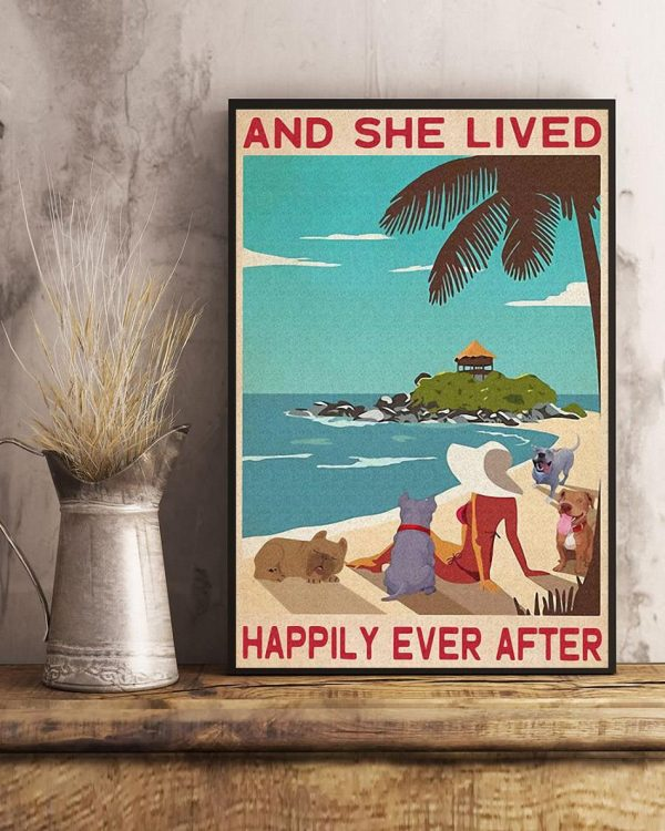 Pitbull girl on beach and she lived happily ever after poster art