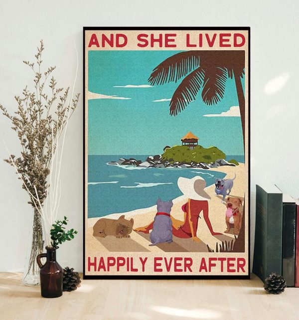 Pitbull girl on beach and she lived happily ever after poster