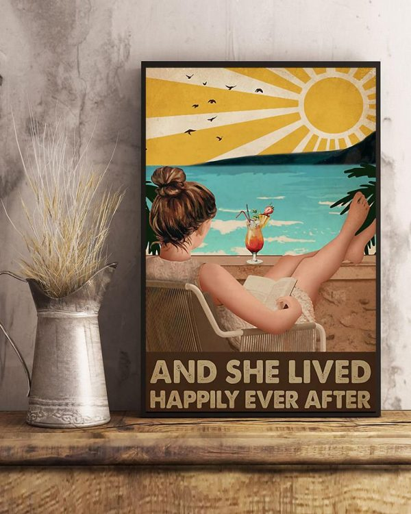 Reading girl and she lived happily ever after poster art