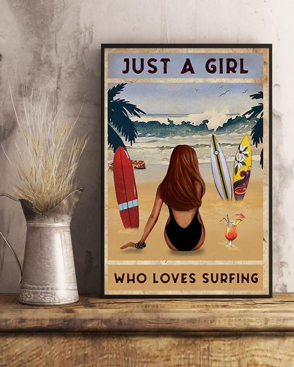 Summer beach just a girl who loves surfing poster art
