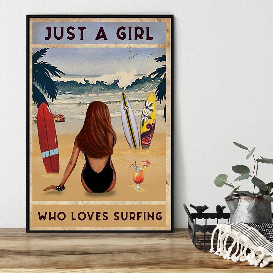 Summer beach just a girl who loves surfing poster black