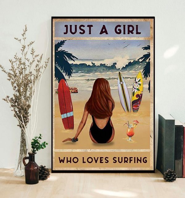 Summer beach just a girl who loves surfing poster