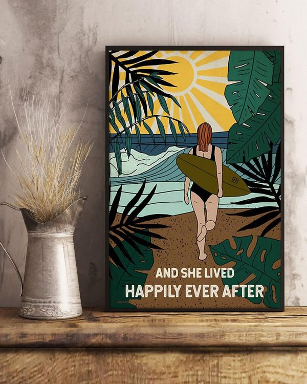 Surfing girl and she lived happily ever after poster art